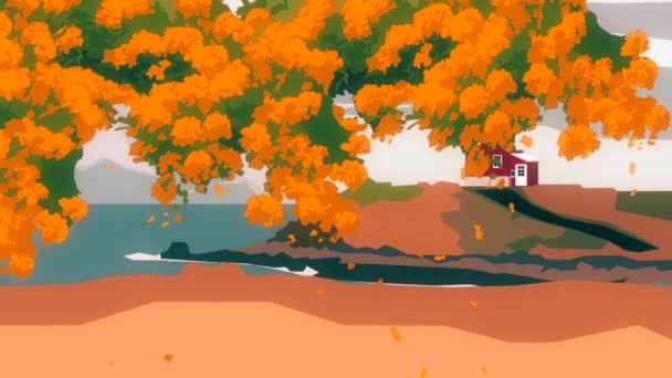 Abstract animation of cartoon tree with small house on the hill near seaside on a background. Cartoon landscape.