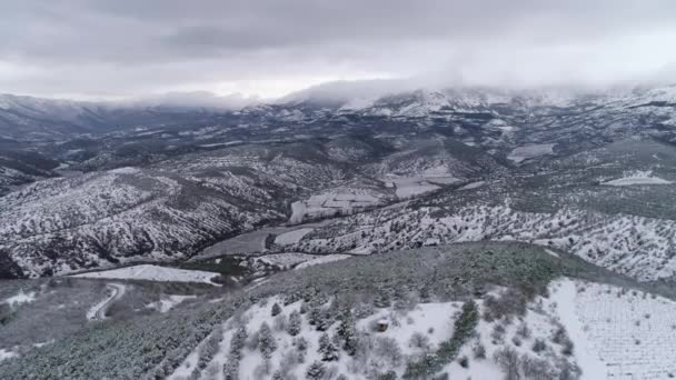 Aerial view of winter mountains, winter landscape. Shot. Majestic snow mountains, Aerial view of the snow covered Mountains