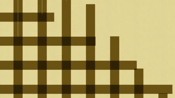 Abstract animation of crossing brown and white stripes on a beige background. Colorful abstraction