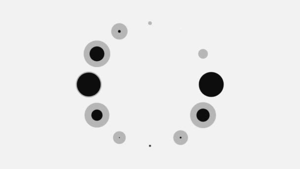 Abstract black and grey spinning bubbles in a rotating loading wheel on white background, seamless loop. Animation. Blinking circles moving endlessly, monochrome.
