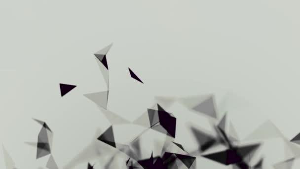 abstrakte schwarze Wolke von Dreiecken, die auf weißem Hintergrund schweben, monochrom. Aktien. magnetisierende Bewegung geometrischer Figuren.