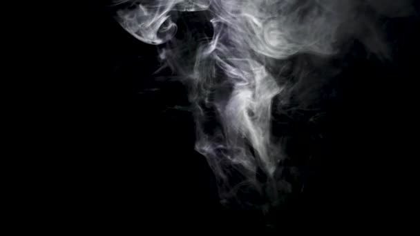 Jets of white smoke on black background. Action. Jets of white smoke like cigarettes rise on black background. Smoking, smoke and bad habit