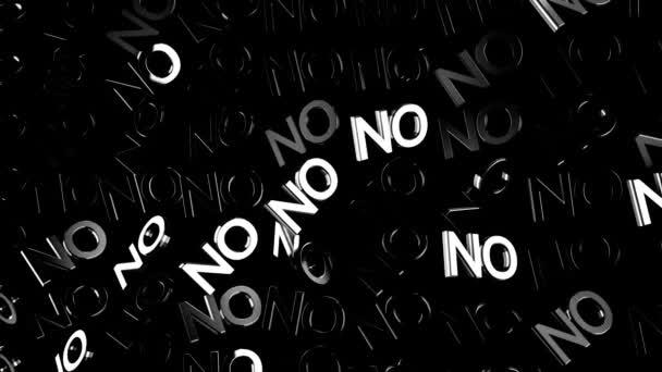Sok elvont neon nem szöveg folyó lassan-ra fekete háttér, tagadás fogalom. Animáció. Fehér izzó nagybetűk mozgó átlósan fény glares, monokróm.