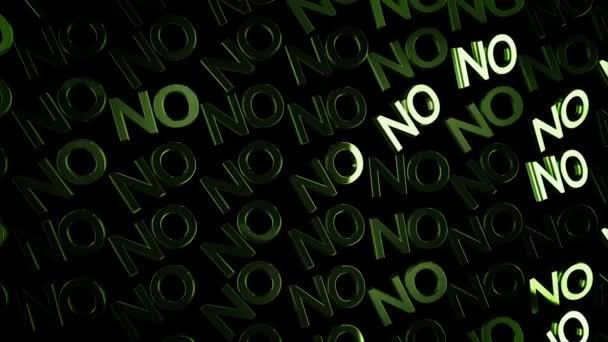 Sok elvont neon nem szöveg folyó lassan-ra fekete háttér, tagadás fogalom. Animáció. Zöld izzó nagybetűk mozgó átlósan fény glares.