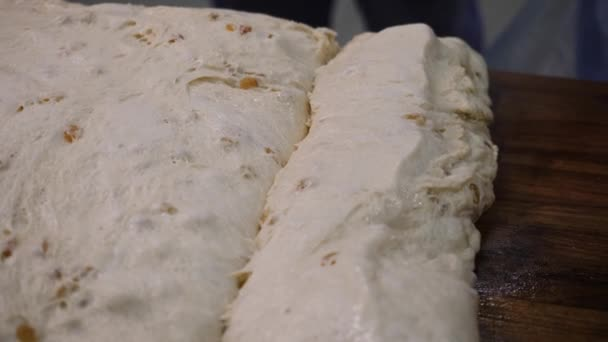 Close-up of yeast dough with raisins. Stock footage. Raw dough with sweet raisins ready for baking. Making sweet pastries for holiday or event