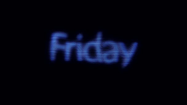 Kék péntek felirat-val digitális zaj hatás-ra fekete háttér. Animáció. Neon színes jel egy ragyogó nap a héten péntek.