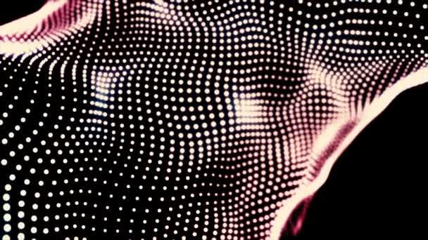 Loopable gradient mává tečkovanou texturou se zářícími rozmazanými částicemi. Animace. Růžové a bílé malé kroužky tekoucí na černém pozadí, abstraktní tkaniny.