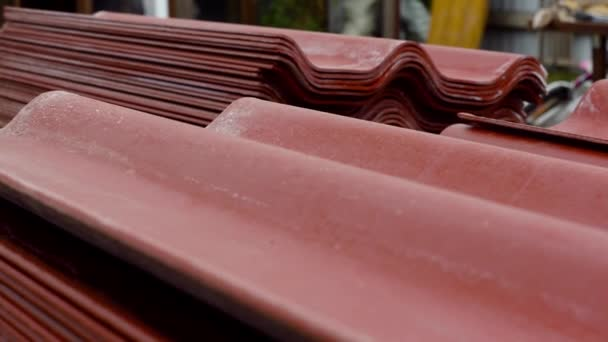 Metal sheets profile steel roofing panel construction material  Stock  footage  Metal profile to cover the roof of the house close-up