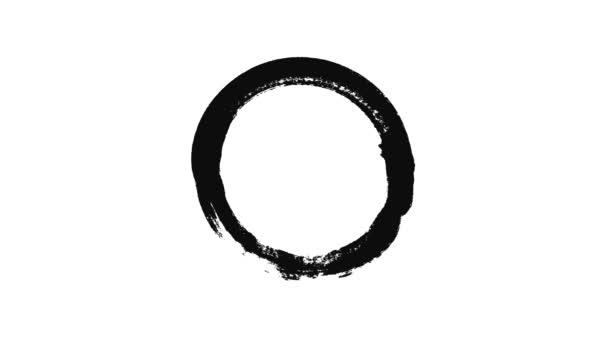 Absztrakt animáció egy kört egy kefével. Animáció. Fekete tintával rajzolt kör fehér háttérrel