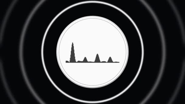Photo Abstract white circle with black horizontal sound signal and white pulsating circle frames on black background, seamless loop. Animation. Radio or voice signal.
