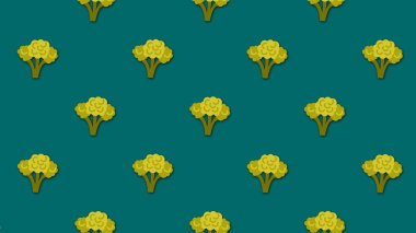 Abstract colorful cartoon background with lots of small animated broccoli images. Animation. Beautiful cartoon animation on colorful background.