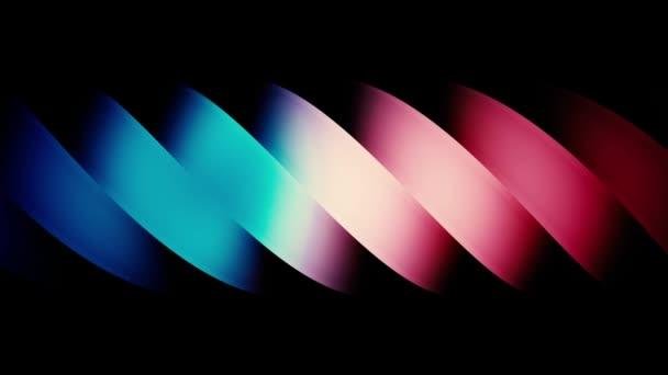 Absztrakt színes rózsaszín és kék spirál, széles ívelt csíkok mozgó fekete háttér. Animáció. Gradiens spirál alak folyó jobbról balra, varrat nélküli hurok.