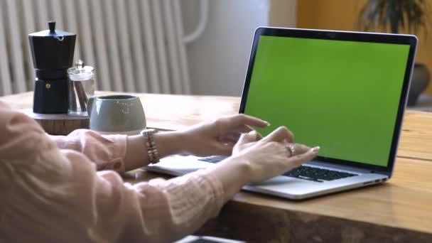 Fiatal nő rózsaszín inget ül a nagy, fából készült asztal és gépelés rajta laptop chroma kulcs zöld képernyőn. Stock Footage. A chroma kulcs képernyő a saját tartalmak elhelyezésére.
