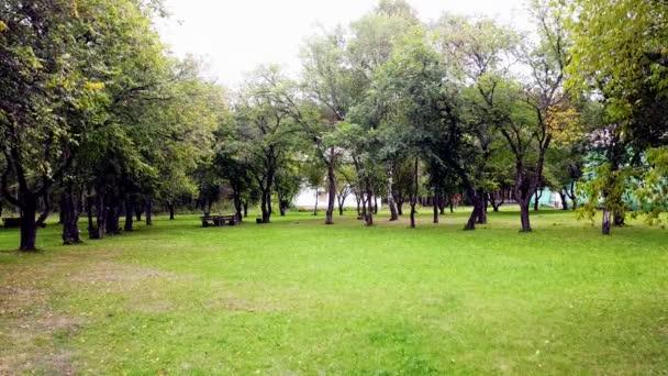 Nyáron nyitott a városi park. Lelőtték. Nyílt területek zöld gyeppel és találkozóhelyekkel a városi parkban. Helyek a hangulatos pihenés a füvön körülvett fák a városi parkban