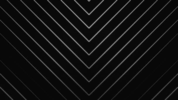 White arrows of many narrow lines pointing down and moving downwards on black background, seamless loop. Animation. Monochrome crossed lines moving down.