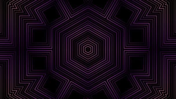 Geometriai Kaleidoszkóp minta mozgatása fekete háttérrel, varrat nélküli hurok. Animáció. Különböző átalakuló lila figurák absztrakt mozgása.