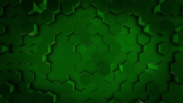 Top view of abstract hexagonal rods moving up and down chaotically, seamless loop. Animation. Green geometrical figures stacked in rows.