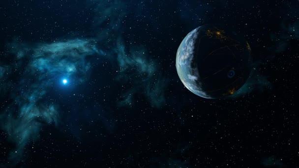 Abstraktní animace planety Země s noční stranou a světly na pozadí hvězd. Animace. Sides of day and night of planet Earth in outer space with bright lumining star