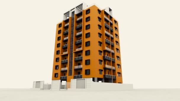 Při pohledu na světlé vysoké obytné budovy a bílý plot dispozice 3d. Záběry ze skladu. Krásná animace moderního vícepodlažního domu, technologický koncept.