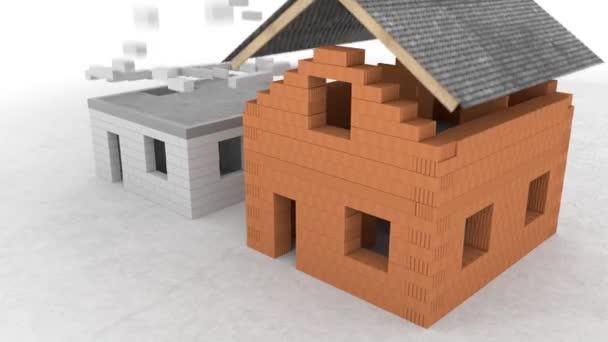 Abstraktní bílé a hnědé cihly dům 3D modely izolované na bílém pozadí. Záběry ze skladu. cihly padají a tvoří stěny domu, architektonický koncept.