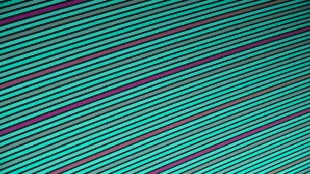 Abstraktní animace pestrobarevných pruhů letících diagonálně a měnících se barev. Animace. Barevné geometrické abstraktní pohyb pozadí.