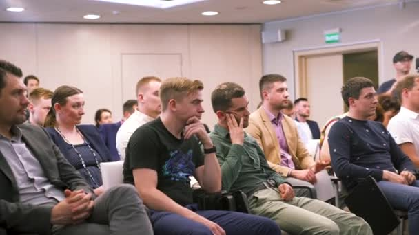 Russia - Moscow, 10.23.2019: Audience at the conference room listening to the business presentation, self development concept. Art. Listeners at the business forum.