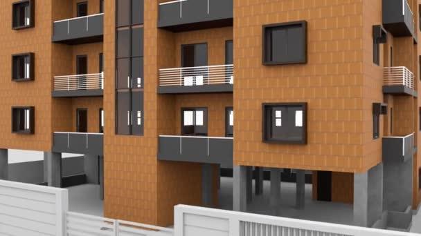 Abstraktní fasáda obytných výškových budov izolovaných na bílém pozadí. Záběry ze skladu. Animovaný 3D model vícepodlažní budovy.