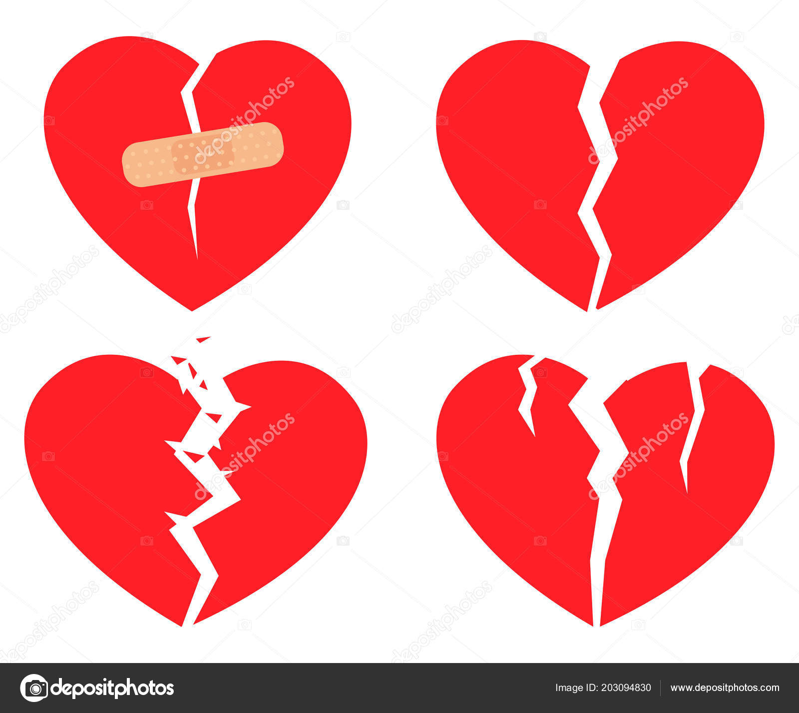 Set Icons Broken Heart Red Color White Background Hurt Love U2014 Stock Vector