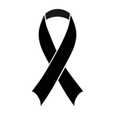 Stock vector illustration black awareness ribbon on white background. Mourning and melanoma symbol. Terrorism. Mourning ribbon, death. EPS 10