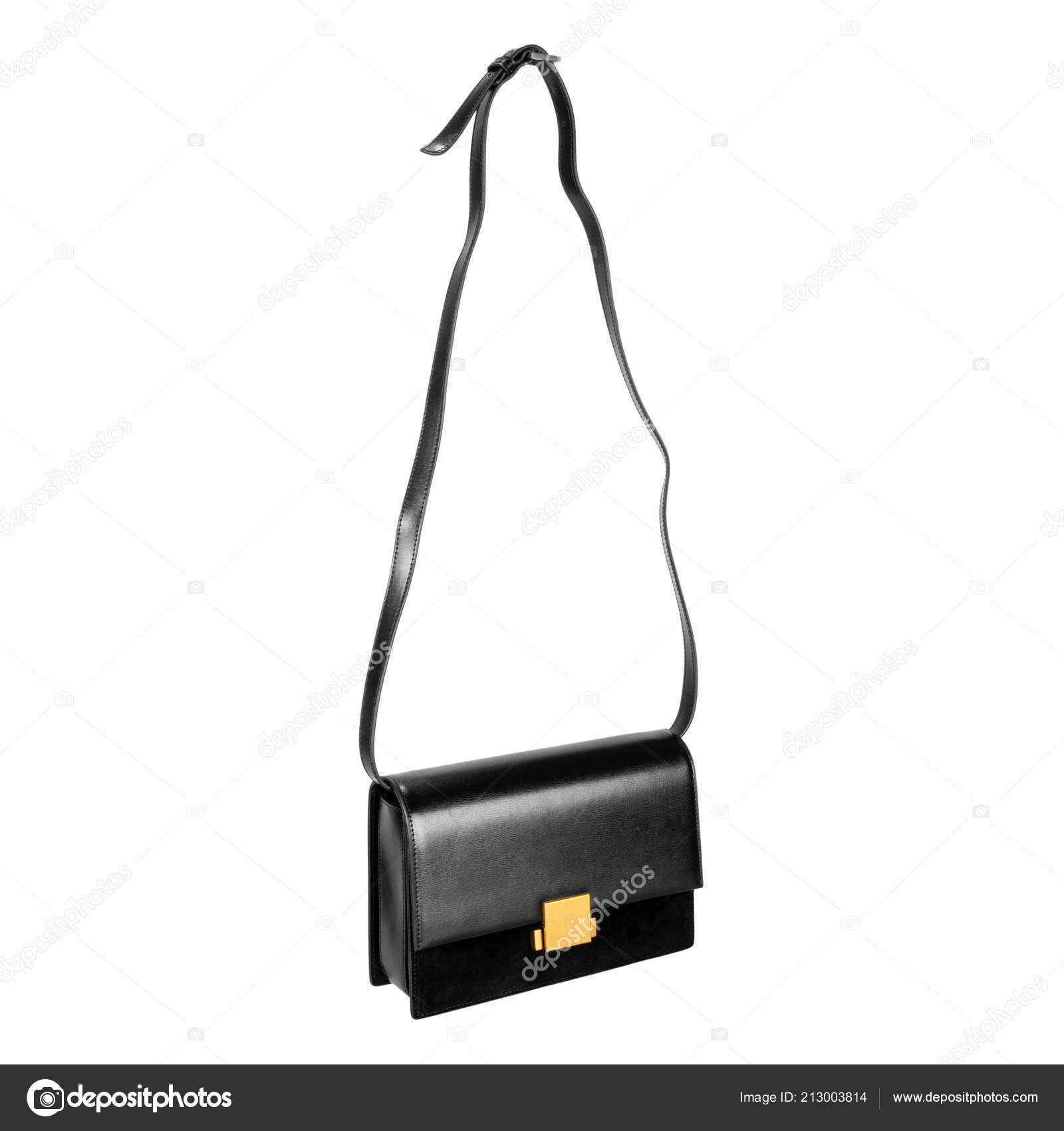 e1fba450755c Little Female Bag Long Strap Black Leather Top Suede Bottom — Stock ...