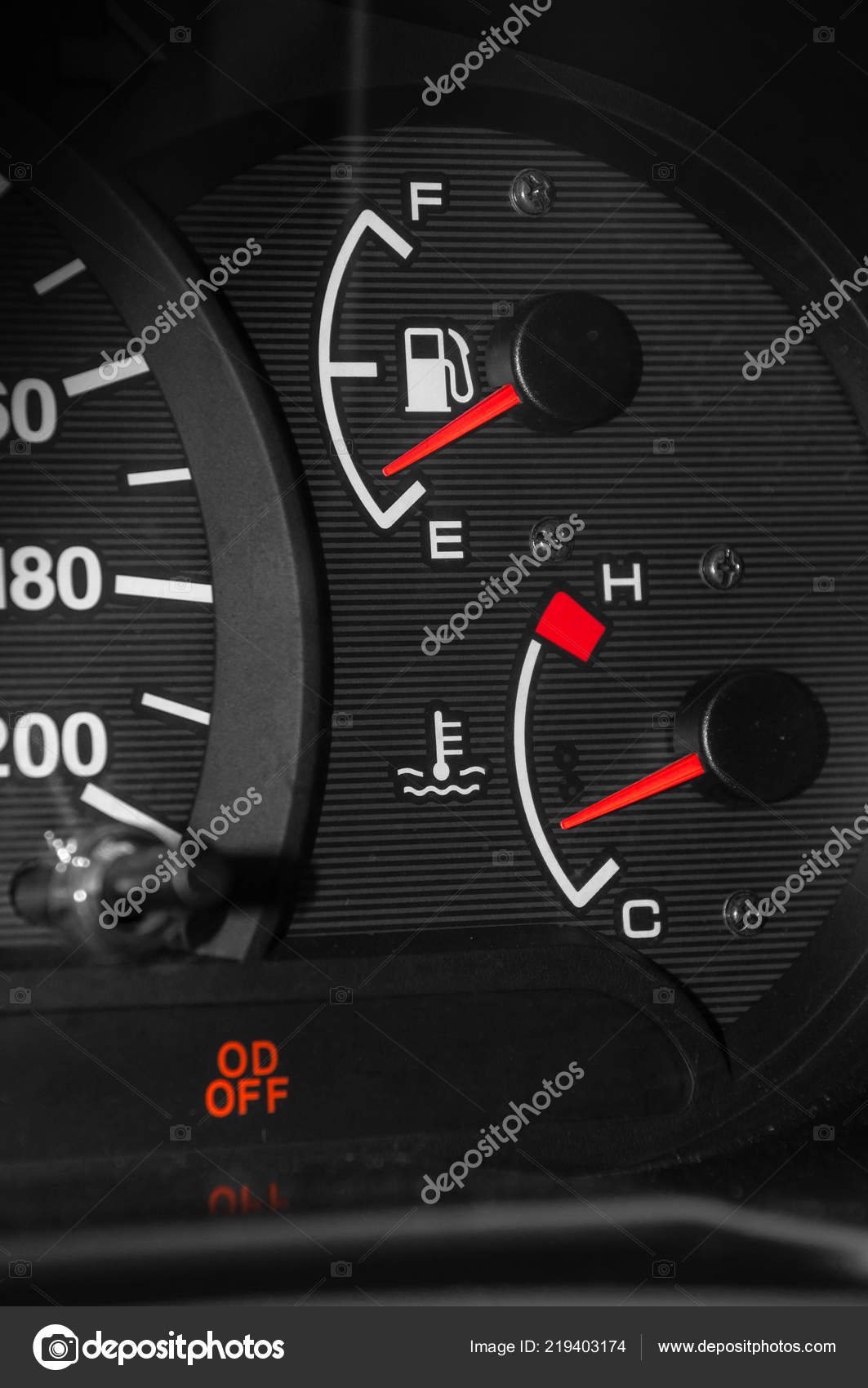 Low Fuel Readings Car Dashboard Vertical Photography Stock Photo C Dr Tsuker 219403174