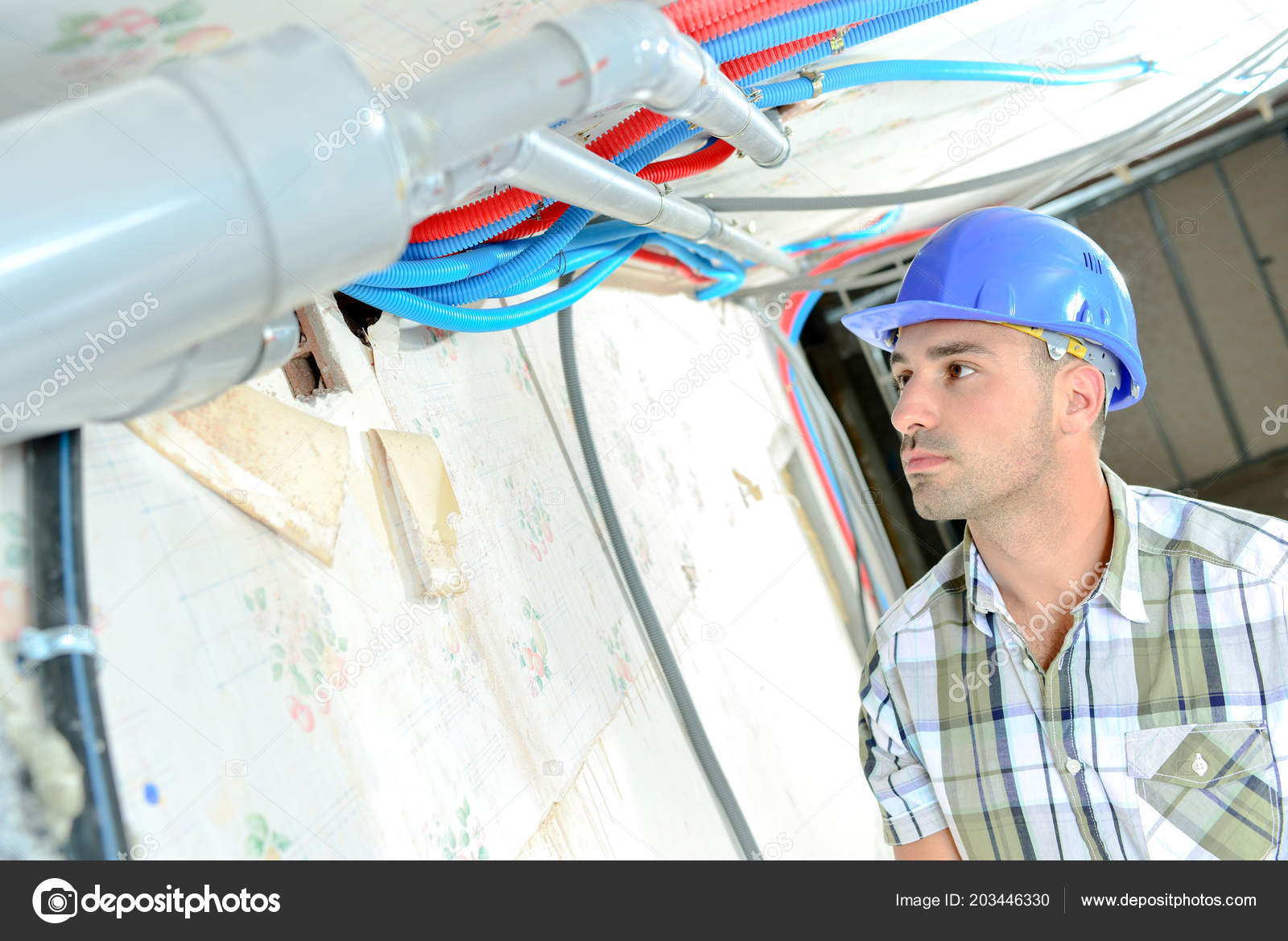 Electrician Wiring A New House Stock Photo Photography33 203446330