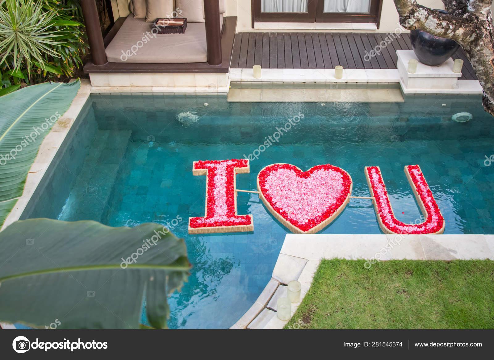 Floating Flowers Arrangement Swimming Pool Honeymoon Birthday Wedding Anniversary Decoration Stock Photo C Triocean2011 281545374