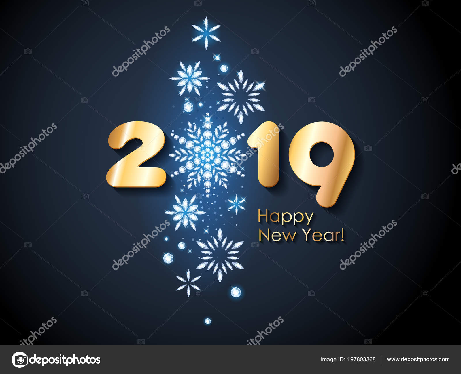 2019 happy new year background with diamond snowflakes christmas winter holidays design seasonal greeting card calendar poster banner