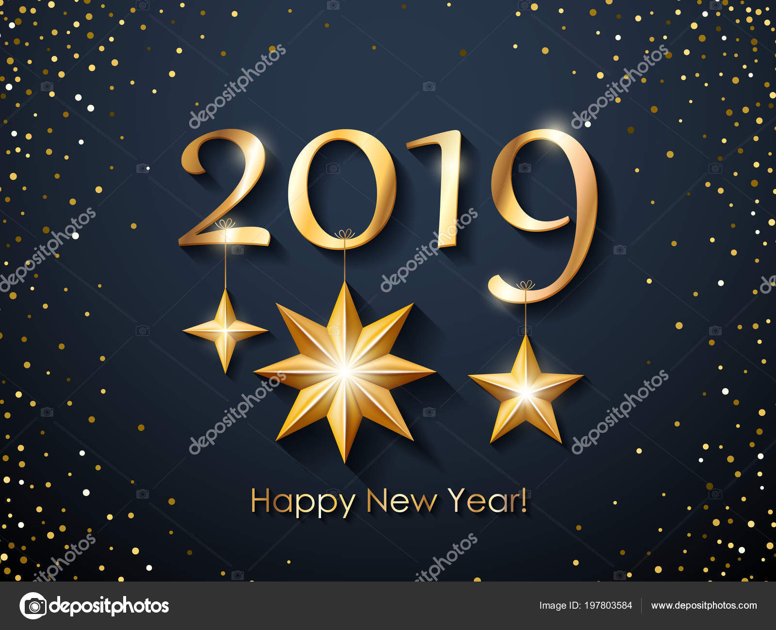 2019 happy new year background with golden stars and glitter christmas winter holidays design seasonal greeting card calendar brochure template