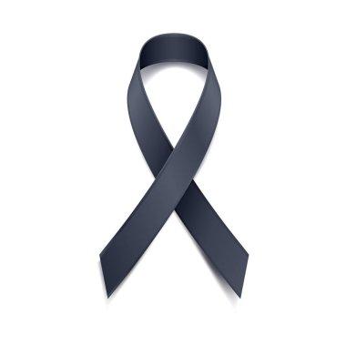 Black ribbon vector illustration. Symbol or sorrow.