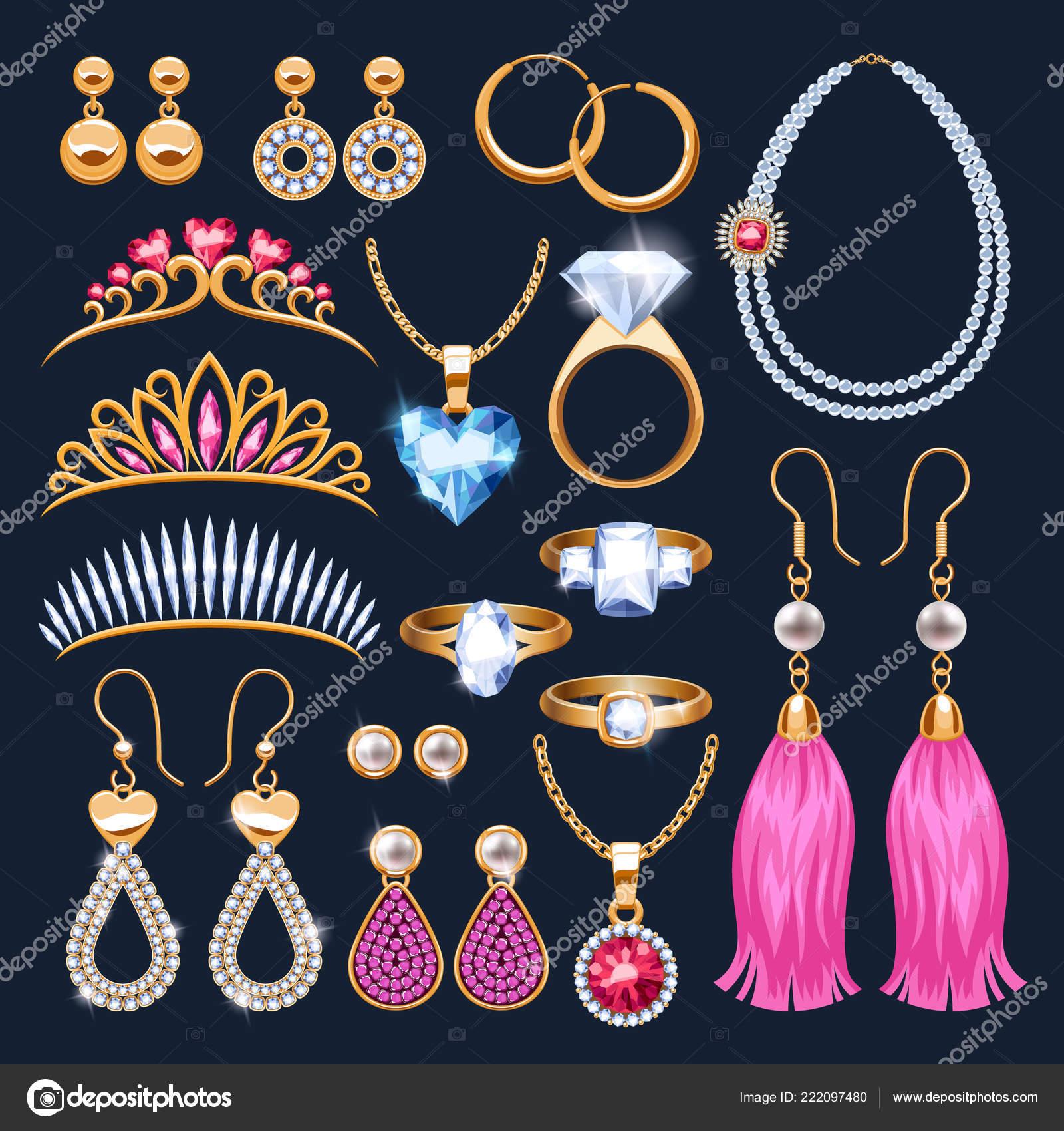 23f4ade8df4f Conjunto de iconos accesorios joyas realistas. Diademas y anillos. Collar y  colgante de piedras preciosas perlas de oro y diamantes vector ilustración.