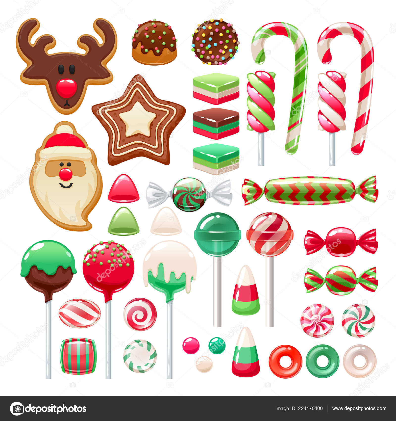 Christmas Sweets.Christmas Sweets Set Assorted Candies And Cookies Stock