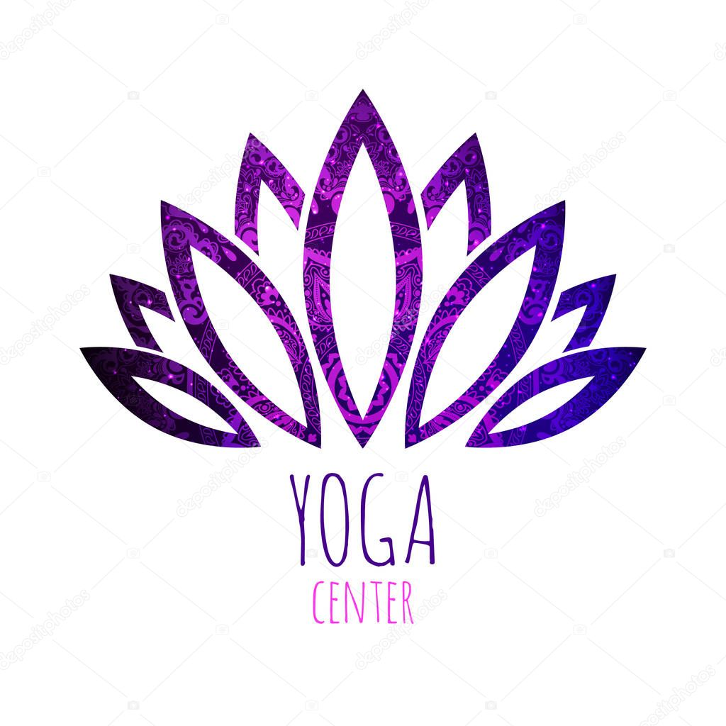 Beautiful lotus flower with mandala and stars background. Good for spa, yoga center, beauty salon and medicine logo designs. Esoteric mystic sign.