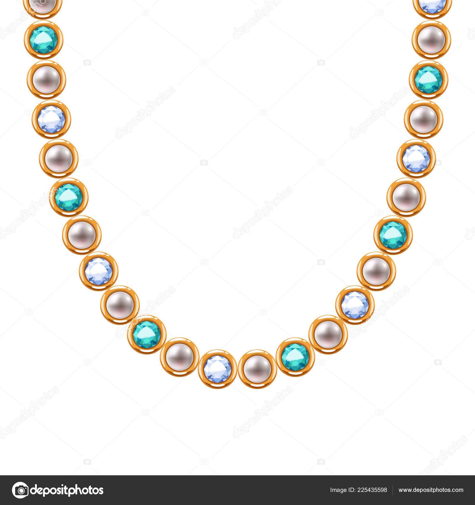 ea98a42194fe Cadena de oro collar o pulsera con cuentas de perlas y piedras preciosas -  diamantes y Esmeraldas — Vector de ...