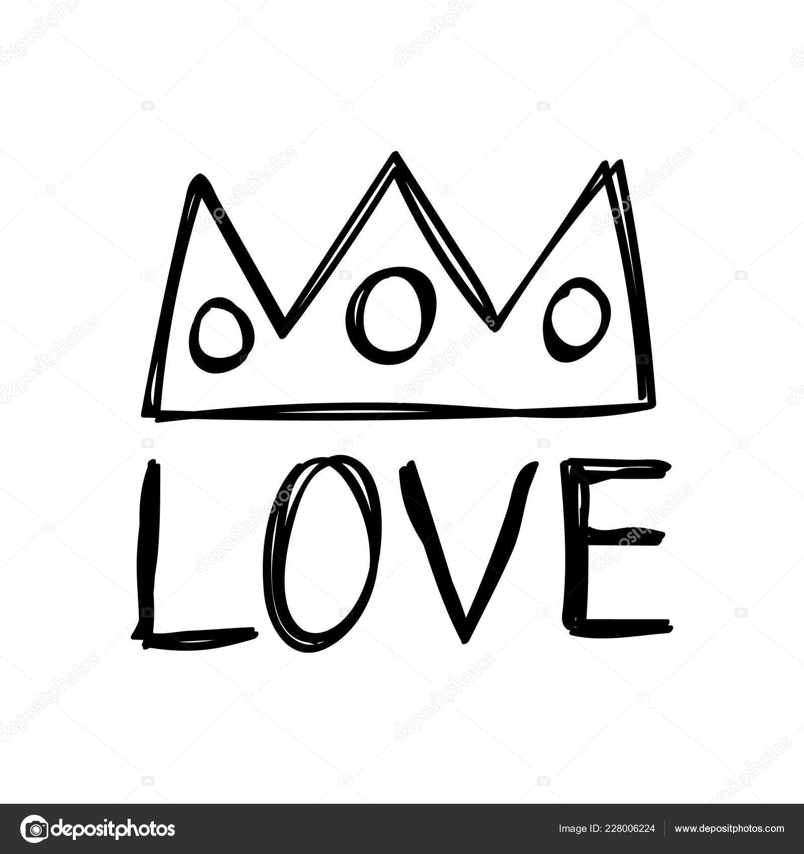 Love And Crown Message For Valentines Day Designs Stock Vector