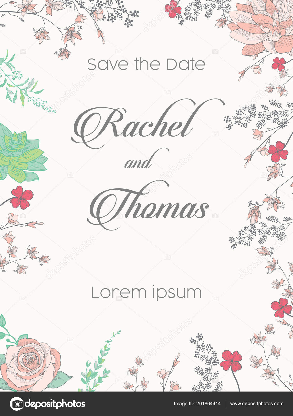 Wedding party invitation date card templates lily valley flowers wedding party invitation date card templates lily valley flowers hand vetores de stock stopboris Image collections