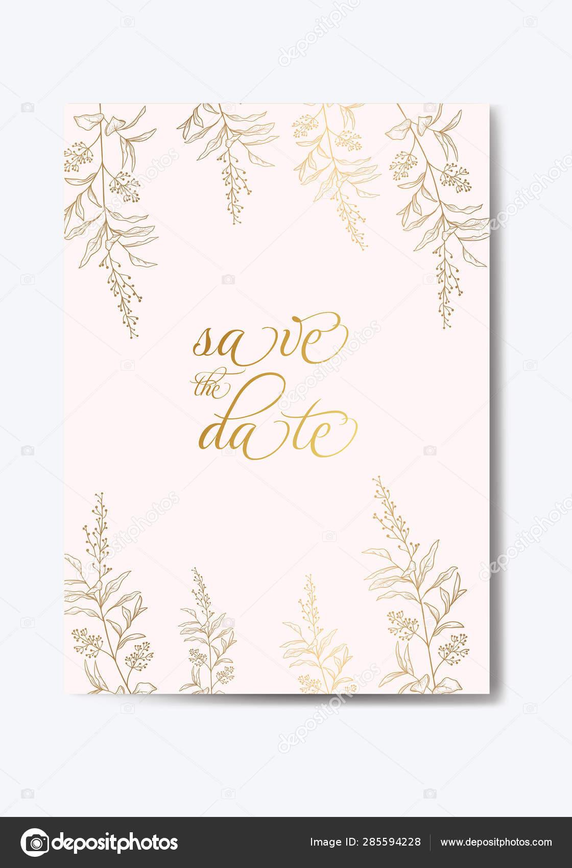 Date Invitation Card Design Vector Illustration Eps Stock