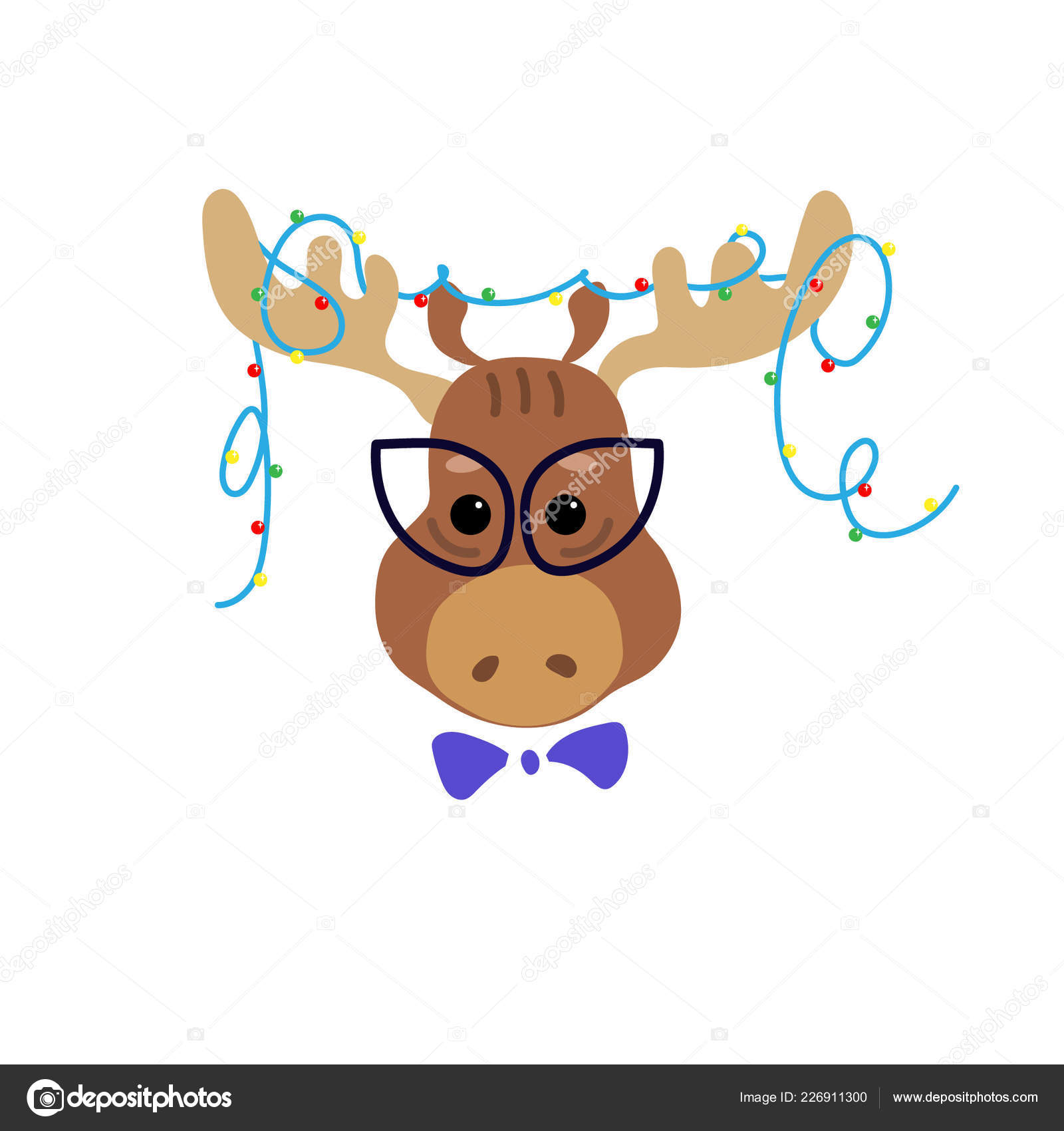Fashionable Moose Christmas Garland Horns Cute Cartoon Character
