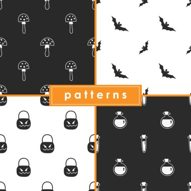 A collection of seamless monochrome patterns for the celebration of Halloween.