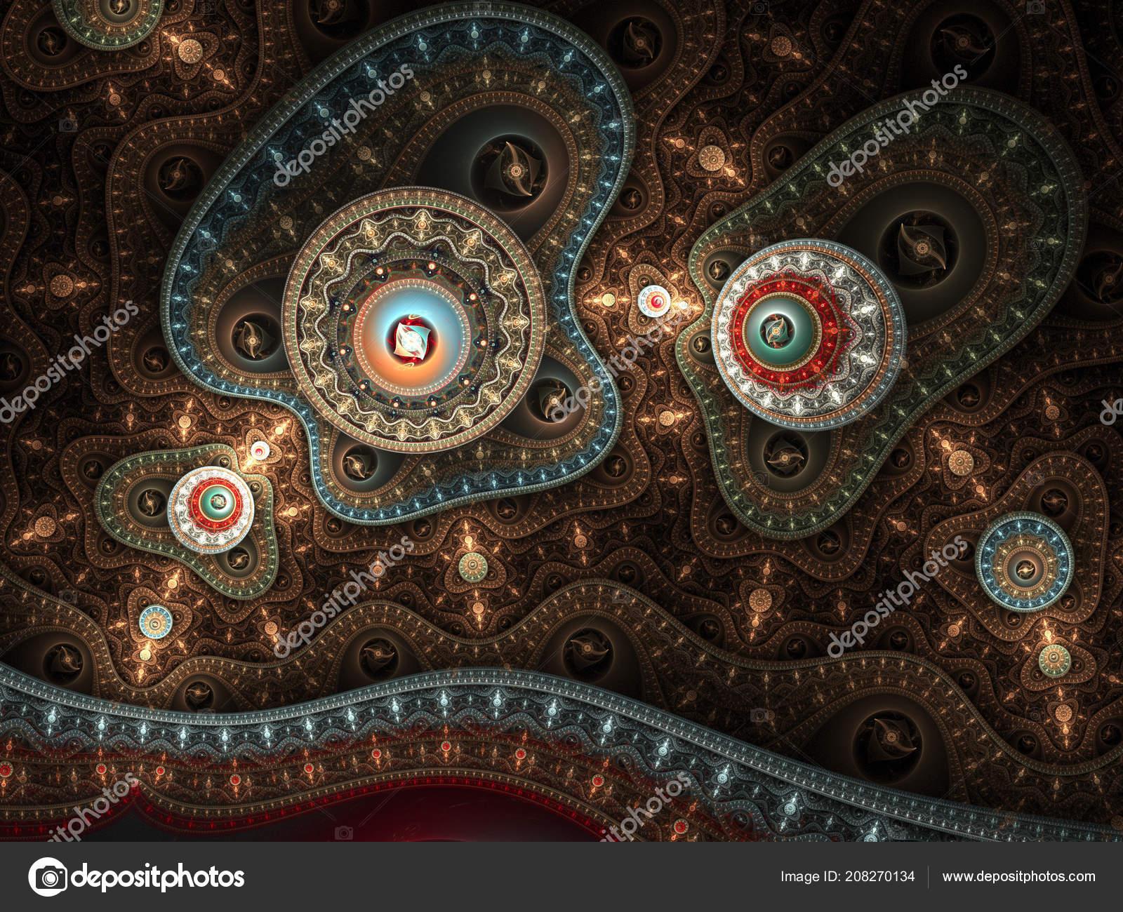Goldene Fraktal Steampunk Muster Digital Artwork Für Kreative ...