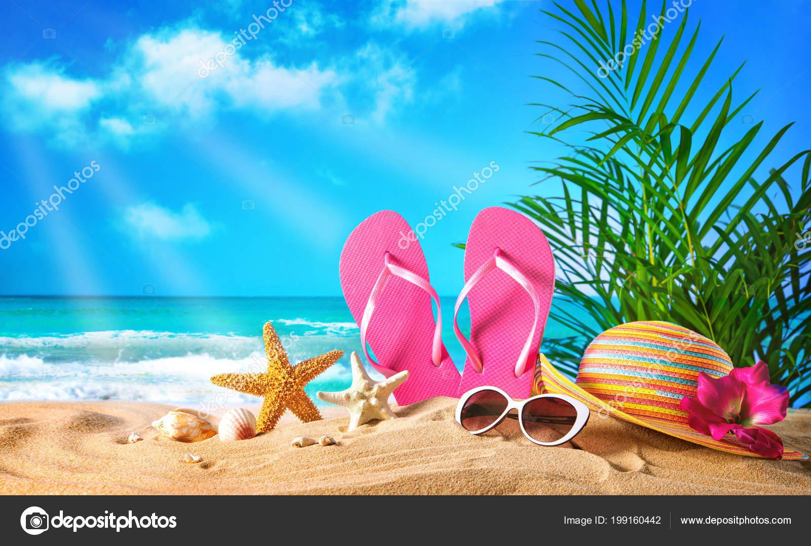 Imágenes Del Verano Sombrero Paja Gafas Sol Playa Concepto