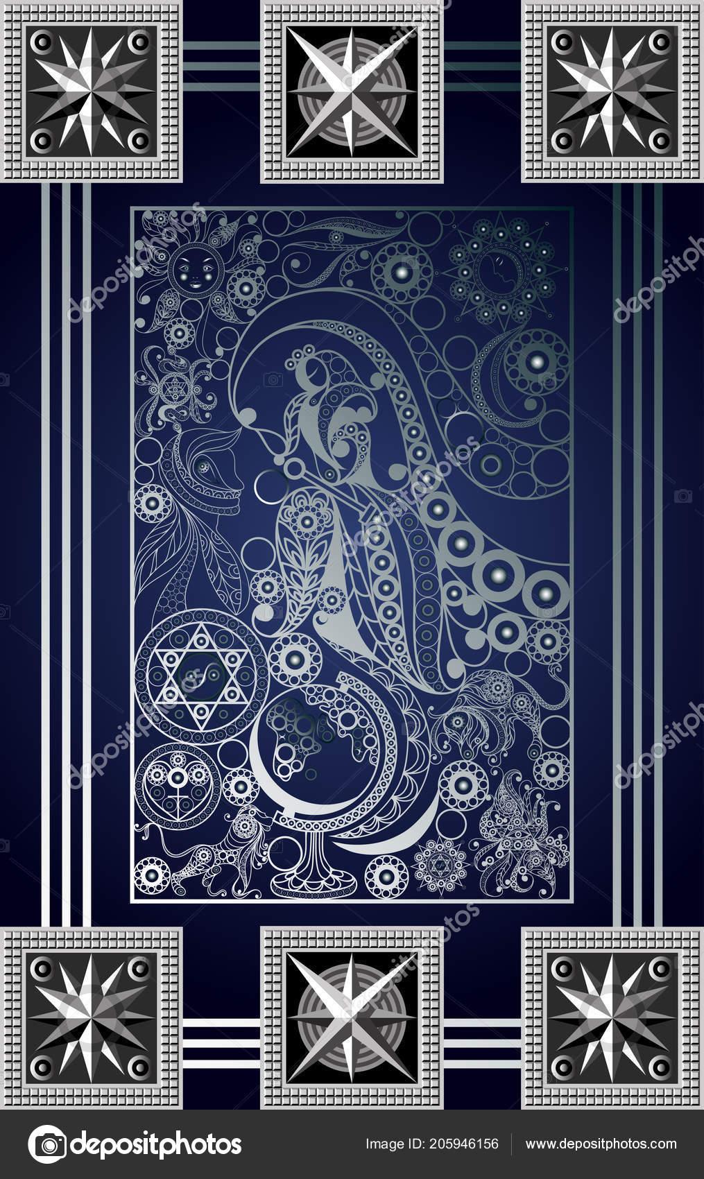 Graphic Abstract Design Occult Tarot Card Major Arcana