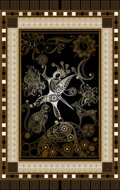 Graphic abstract design with occult tarot card. Major Arcana - The Fool. Suitable for invitation, flyer, sticker, poster, banner, card, label, cover, web. Vector illustration.
