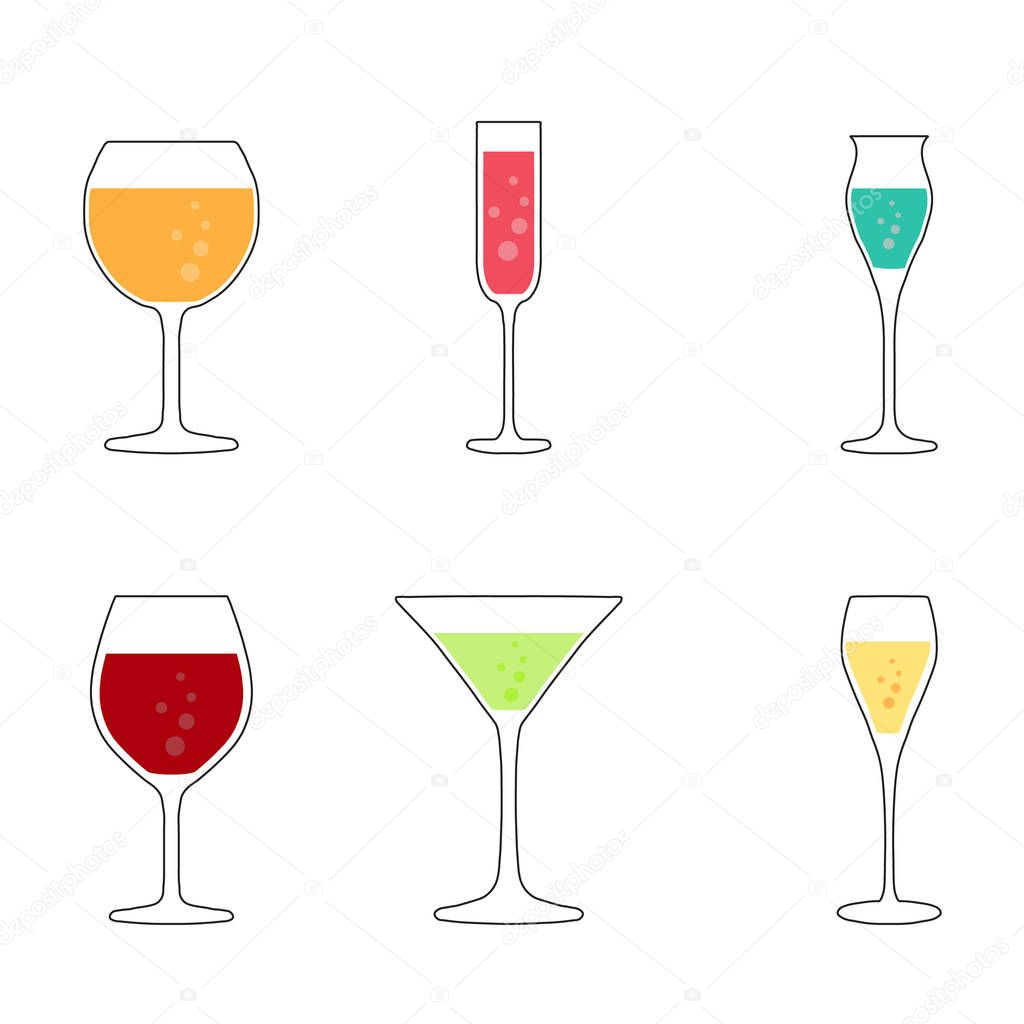 Wine and cocktail glasses collection